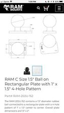 """RAM C Size 1.5"""" On Rectangular Plate With 1"""" By 1.5"""" 4 Hole Pattern"""