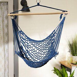 Stylish French Blue Schima Wood Cotton Hammock Comfy Chair Outdoor Decor
