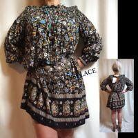 ZARA Mini Shift Dress S-M-L *BNWT* Boho Floral Black Multicoloured Ethnic