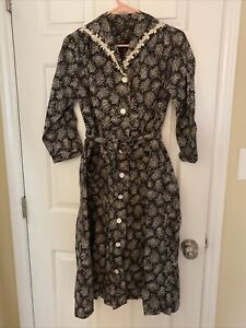 Vintage 40s 50s Day Dress White Black Belted Floral Button L XL 1950s 1940s