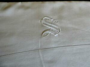"ANTIQUE VINTAGE WHITE LINEN TOP SHEET HEMSTITCHED MONOGRAM  "" S "" 100"" by 70"""