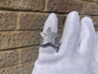 Men's Luxury Iced Silver Plated Lab Diamond Star Ring Size 7
