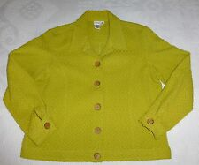 Coldwater Creek Women's Jacket Size PM Green Yellow Chartreuse Geometric Weave