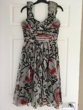 WOMENS, CUE, SILK PARTY DRESS, NWT, FLOWERS SIZE 10, BLACK/WHITE/RED/GREEN, #686