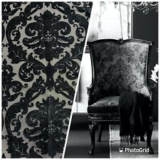Designer Damask Burnout Chenille Velvet Fabric - Upholstery - Black & Gray
