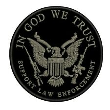 In GOD We Trust Support Law Enforcement Embroidered Patch Hook Back SECOND 2A
