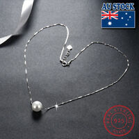 Classic Stunning 925 Sterling Silver Massive Cream White Pearl Pendant Necklaces