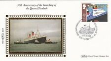 Benham Small Silk FDC  50th Anniv Launching Queen Elizabeth 26p Stamp &  Cover