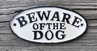 BEWARE OF THE DOG Vintage Oval Cast Iron Wall Plaque Sign