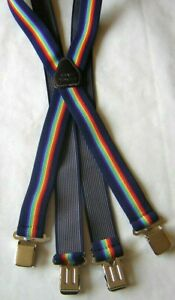 "MENS BRACES RAINBOW NAVY BLUE MOTORBIKE FISHING WORK 1 1/2"" BRACE YOURSELF"