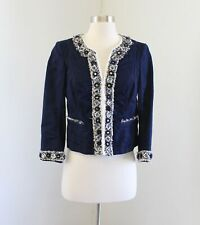 White House Black Market Navy Blue Beaded Fringe Blazer Jacket Size 4