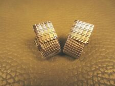 Mid Century Modern Brushed Finish Wrap Around White Gold Plated Cuff Links