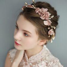 Pink Flower Bridal Tiara Headband Wreath Handmade Pearl Hair Band Beach Headwear