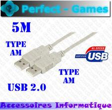 Câble USB 2.0 type AM male vers type AM male 5 mètres