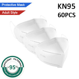 60 PCS Disposable Protective KN95 Face Mask 5-Layer Filtering PM2.5 White Color