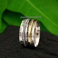 Solid 925 Sterling Silver Spinner Ring Meditation Ring Statement Ring Size SR259