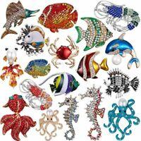 Fashion Pearl Crystal Fish Lobster Breastpin Brooch Pin Wedding Costume Jewelry