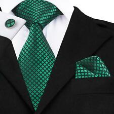 USA Men Classic Silk Ties Set Green Plaid Check Necktie For Men Woven Gift Party