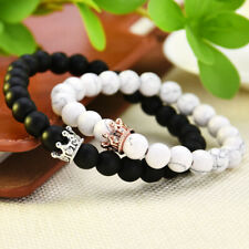 2Pcs King Queen Crown 8mm Beads Bracelets His And Her Friendship Couple Bracelet