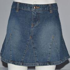 OLD NAVY Mini Skirt Blue Jeans Denim A-Line Wide Hem 100% Cotton Distressed Sz 2