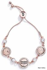 GUESS Jeans Rhinestones Logo Bangle  Bracelet  Rose Gold Tone Charms  NWT