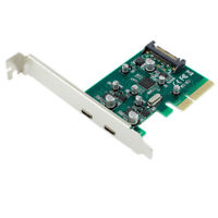 PCI-E 4x Express to USB 3.1 USB-C Type C Dual Port Add on Expansion Card Adapter