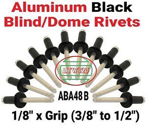 "(50) Black All Aluminum  Rivets 1/8 x Grip (3/8"" to 3/4"") ABA48Black"