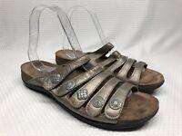 Dansko Janie Black Leather Strappy Slip On Sandals Comfort Slides Sz 39
