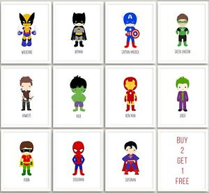 Superhero Marvel Print Nursery Wall Art Childrens Boys Bedroom A3 A4 A5