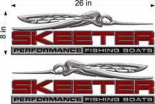 "SKEETER Boats 3D Logo / PAIR / 26"" RED Vinyl Watercraft Decal Sticker Graphics"