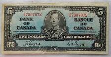 "1937 Canada 5 Dollars Banknote P.60.c ""Coyne - Towers"" SB3892"