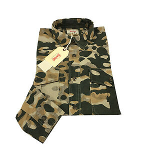 VINTAGE 55 Men's Shirts Camouflage Long Sleeve 100% Cotton Made IN Italy