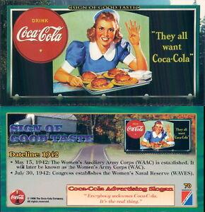 RARA ORIGINAL CARD U.S.A*SIGN OF GOOD TASTE - COCA COLA N.70*-NEW,PERFECT-N.725