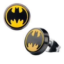 Batman Stud Enamel Earrings Yellow