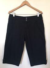 WOMENS 'KATHMANDU' Size 12 BLACK ezCARE Slim Fit CHINO SHORTS TAB HEM POCKETS