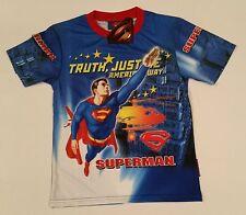SUPERBE TEE-SHIRT SUPERMAN 8-9 ans (L) BONNE QUALITE imprimé des 2 cotés
