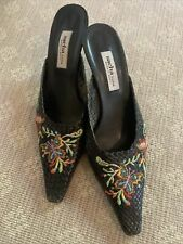 Sacha London Woven Leather Embroidered Black Mules Size 8 1/2