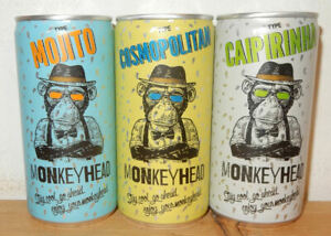 3 Very nice MONKEYHEAD COCTAIL DRINK cans from HOLLAND (20cl)