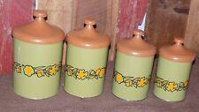 Vintage Canisters Avacado Green Orange Flowers Floral Retro Metal Aluminum Tin