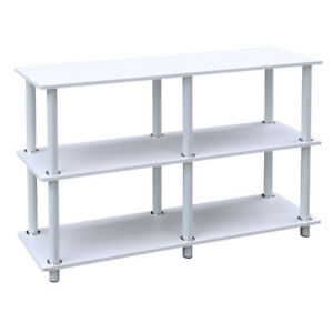 White 3 Tiers Shelf Console Table Wooden Rack Kitchen Racking Shelving Organiser