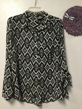 Ladies blouse size large black white button down long sleeve New Directions 163