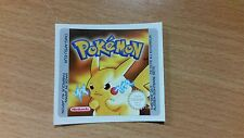 Gameboy Pokemon Yellow Version Replacement Label Decal Sticker NintendoCartridge