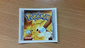 Gameboy Pokemon Yellow Version Replacement Label Decal Sticker NintendoCartridge