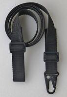 "Black RIFLE SHOTGUN SLING 1"" x 45"" (Cut 55) 750 lb Polypro Web HK Style QD Clip"