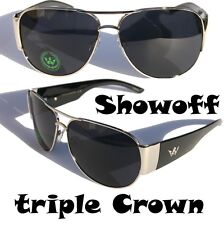Men Triple Crown Show Off Aviator Sunglasses Black Silver fashion shades