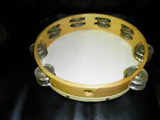 "Wood Tambourine *Hand Made* with-metal jingles 10"" Head"