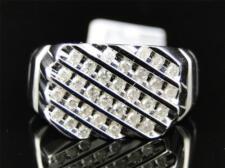 10K Mens White Gold Round Diamond 12MM Pinky Fashion Wedding Band Ring 1/2 Ct