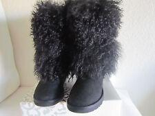 Ugg Australia Sheepskin Mongolian Tall  Cuff Boots Sz 5 Black #3166