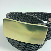 DKNY Mens Womens Unisex Brown Woven Braided Leather Belt Solid Brass Buckle-Sz S