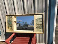 Vtg Homco Mirrored Shadow Box Shelf MCM French Scene Wood Wall Shelf 43x21x4